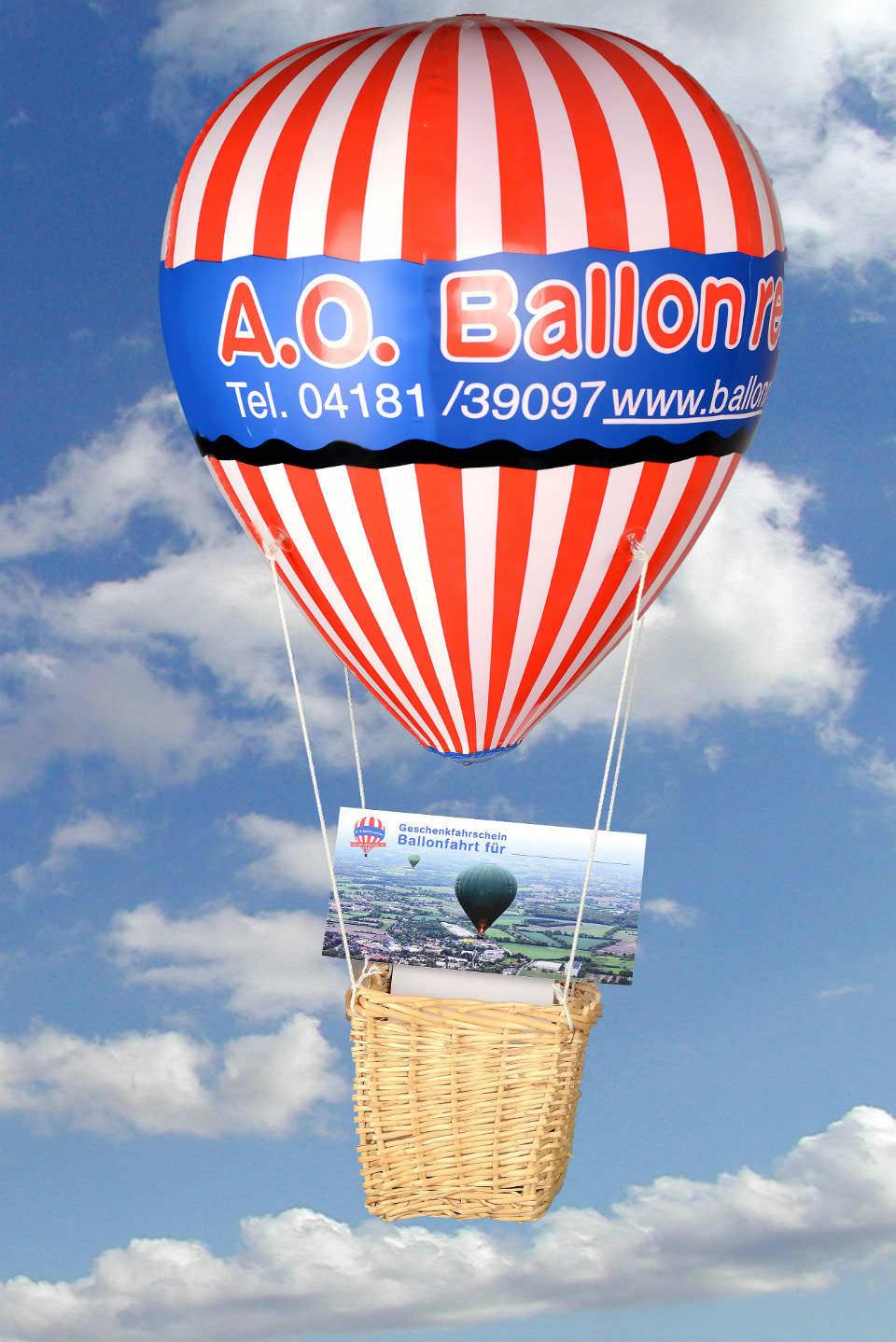 Modellballon mit Geschenkfahrschein