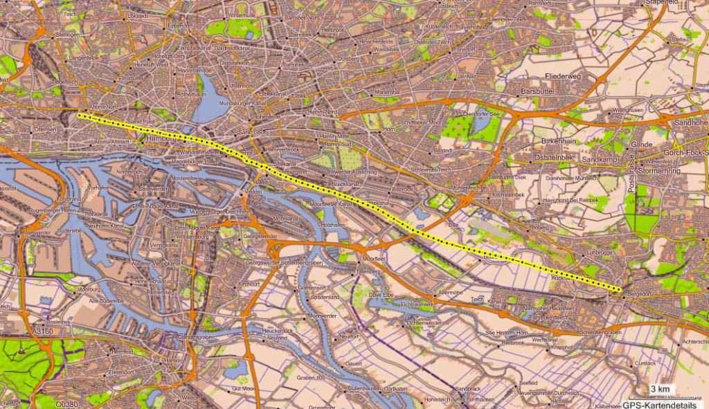 Route Ballonfahrt Hamburg-Altona nach Börnsen