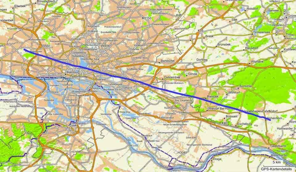 Ballonfahrt Hamburg: Route vom 28.05.2010