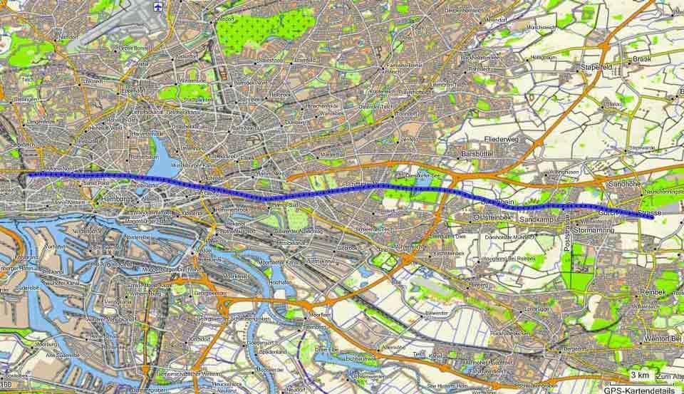 Ballonfahrt Hamburg: Route vom 30.07.2010