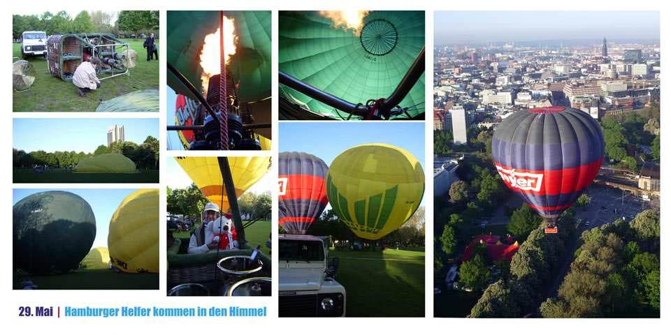 gemeinsamer Start von vier Ballons