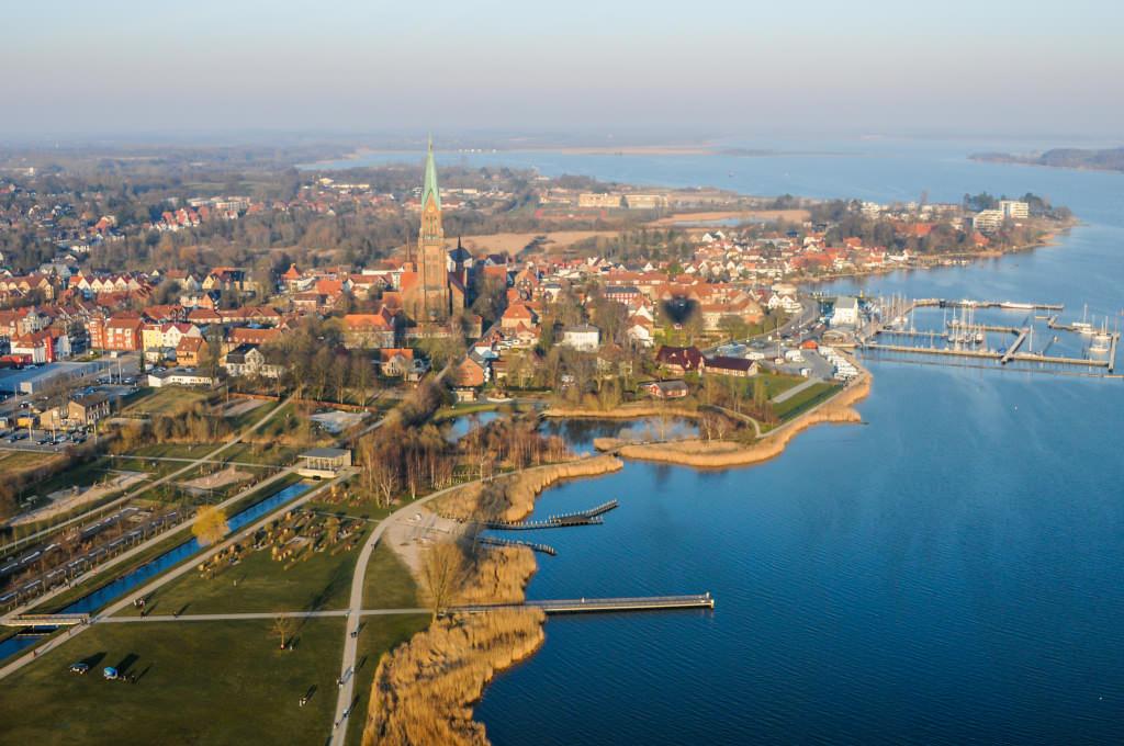 Ballonfahrt Schleswig - nach dem Start von den Königswiesen